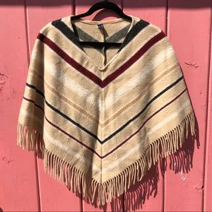 Burberry Lamb Wool Poncho Sweater Fringe Detail ❣️